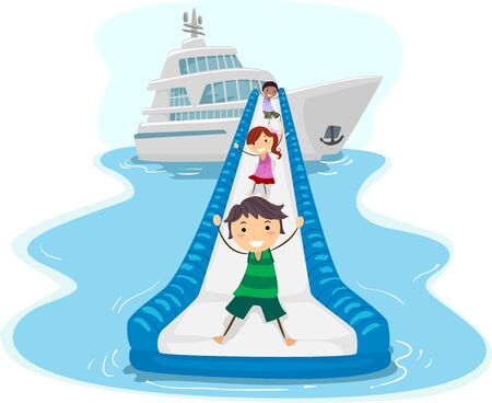 Illustration of Stickman Kids Riding Down the Inflatable Water Slide of a Yacht 版權商用圖片