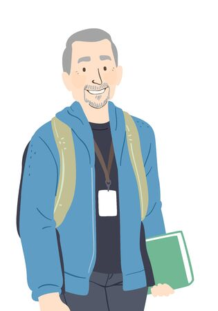 Illustration of a Senior Man Wearing Backpack and Holding a Book Going Back to School