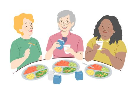 Illustration of Three Senior Woman Eating Together with Plates Full Of Vegetables Stock Photo