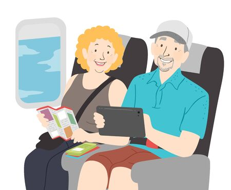 Illustration of a Senior Couple On a Trip Holding Brochure and Tablet Computer,  Riding a Plane