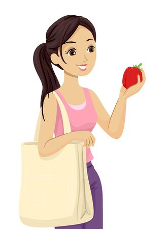 Illustration of a Teenage Girl Inspecting a Red Tomato and Carrying a Reusable Market Bag