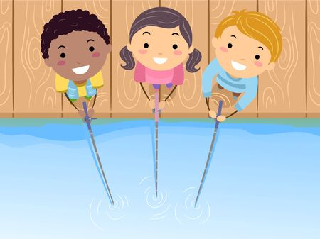 Illustration of Stickman Kids Holding Fishing Rods by the Lake Looking Up