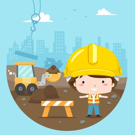 Illustration of a Kid Boy Wearing Yellow Hard Hat and Vest Standing in a Construction Site with Crane and Excavator