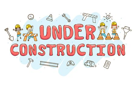Illustration of Stickman Kids with Under Construction Lettering and other Elements