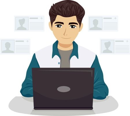 Illustration of a Teenage Guy Using Laptop with Different Profiles on Screen for Social Networking