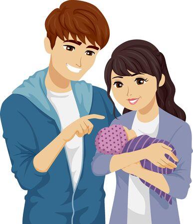 Illustration eines jungen Mädchens und eines Mannes, die ihr Baby als Mutter und Vater zum ersten Mal halten Standard-Bild