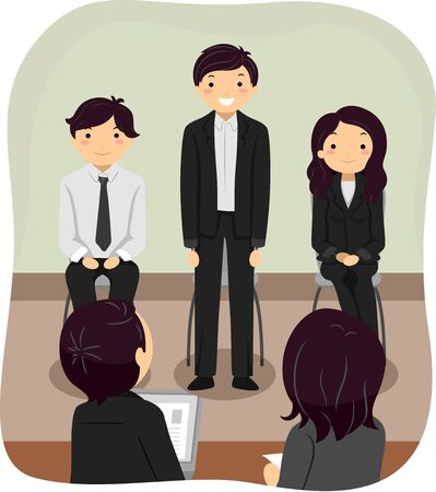 Illustration of Stickman Korean In a Job Interview with a Panel and Fellow Interviewees Sitting