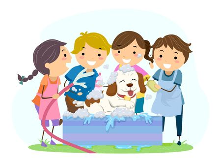 Illustration of Stickman Kids Washing their Dog on Tub, Holding Soap and Hose 写真素材