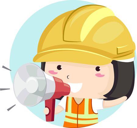 Illustration of a Kid Girl Wearing Yellow Construction Hard Hat and Vest Using a Megaphone