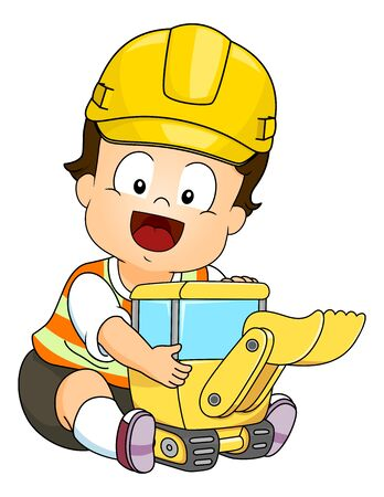 Illustration of a Kid Boy Hugging a Back Hoe Construction Toy Wearing Yellow Hard Hat