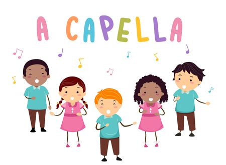 Illustration of Stickman Kids Singing with A Capella Lettering and Musical Notes Stock Photo