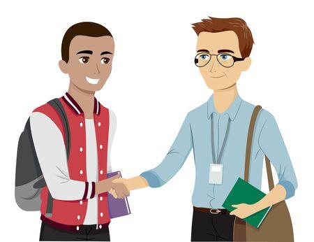 Illustrazione di uno studente adolescente che stringe la mano al suo professore preferito