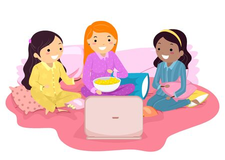 Illustration of Stickman Teens Wearing Pajamas on Bed Watching a Show or Movie on Laptop Stock Photo