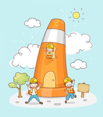 Illustration of a Traffic Cone House with Stickman Kids Wearing Construction Yellow Hard Hats
