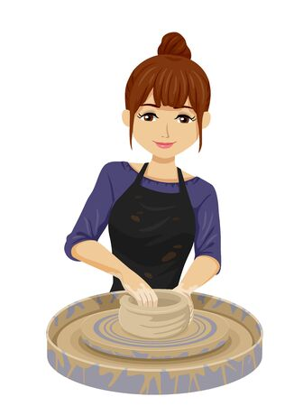 Illustration of a Teenage Girl Wearing Apron and Molding Clay in Pottery Class Stok Fotoğraf