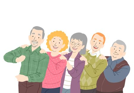 Illustration of a Group of Senior Man and Woman with Hands on Another Persons Shoulder Doing the Conga Dance