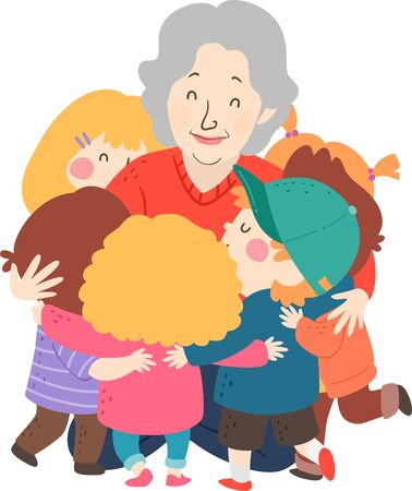 Illustration of Kids Hugging a Senior Woman, Grand Children Hugging Grandmother
