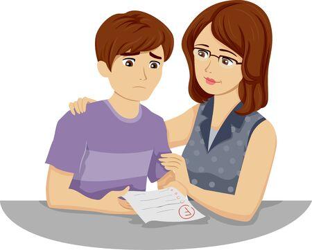 Illustrazione di un ragazzo adolescente consolato da una donna adulta per un grado in difetto