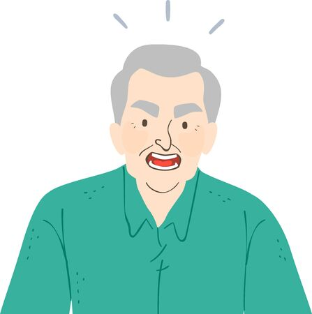 Illustration of an Angry Senior Man with Mouth Open and Shouting Stok Fotoğraf