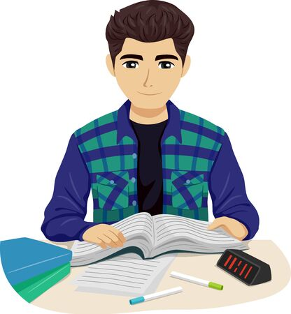 Illustration of Teenage Guy Reading a Book Studying with Markers and Clock