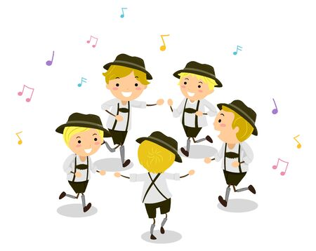 Illustration of Stickman Kids In Costume Dancing Schuhplattler with Musical Notes Around