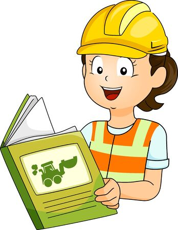 Illustration of a Kid Girl Wearing Yellow Hard Hat Reading a Book About Construction