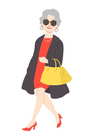 Illustration of a Senior Woman Wearing Fashionable Clothes, Bag and Other Accessories