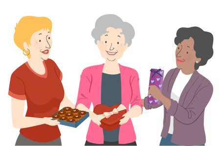 Illustration of Senior Woman Exchanging Chocolates on Valentines Day