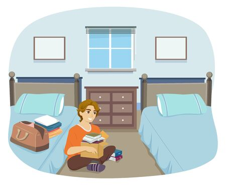 Illustration of a Teenage Guy Unpacking Books and Clothes in His Dorm Room