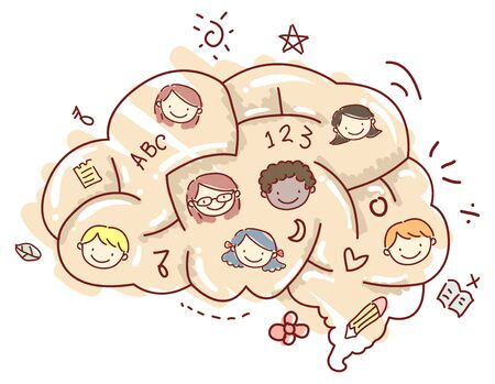 Illustration of a Brain Designed as a Maze with Kids Faces and Other Education Doodles