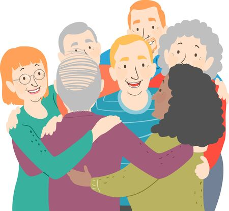 Illustration of Senior Men and Women in a Group Hug