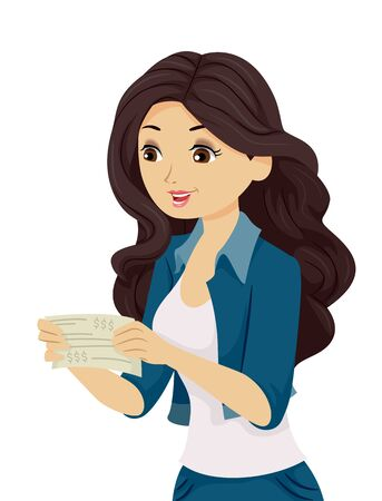 Illustration of a Teenage Girl Smiling, Looking at and Holding Her First Paycheck