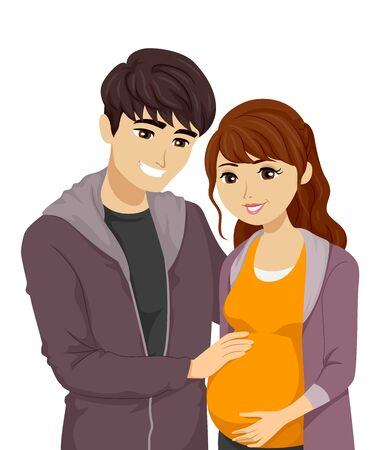 Illustration of a Young Teenage Couple with Guy Holding the Belly of His Pregnant Girlfriend