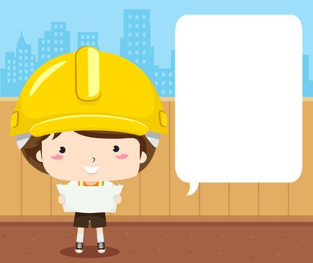 Illustration of a Kid Boy Wearing Yellow Hard Hat Talking About a Building Plan with Blank Speech Bubble Stok Fotoğraf