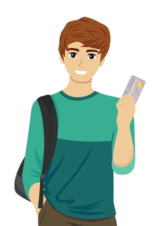Illustration of a Teenage Guy Student Holding a Credit or Debit Card Stok Fotoğraf