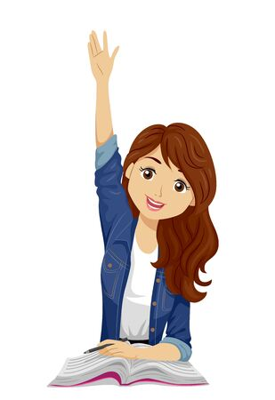 Illustration of a Teenage Girl Student Raising Her Hands Up with a Book and Pen