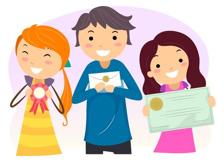 Illustration of Stickman Teens Smiling and Showing a Medal, Sealed Envelope and a Certificate for Winning