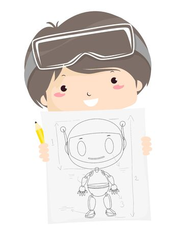 Illustration of a Kid Boy Wearing Goggles and Showing a Robot Drawing He Designed Stok Fotoğraf
