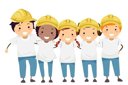 Illustration of Stickman Kids Wearing White Shirts and Yellow Hard Hats