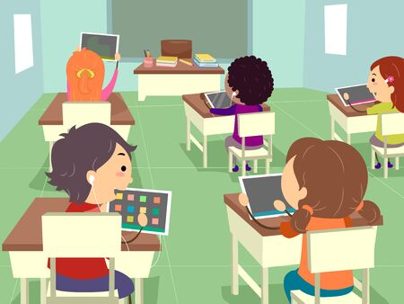 Illustration of Stickman Kids Using Apps in Tablet Computer in Classroom Stok Fotoğraf
