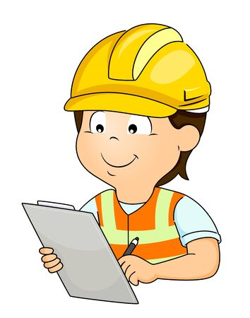 Illustration of a Kid Boy Wearing a Yellow Hard Hat and Writing Down on Clipboard about Construction