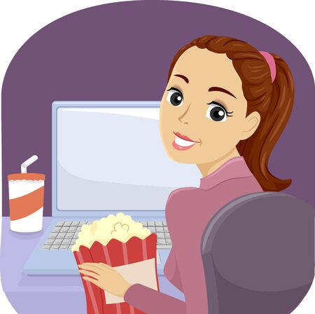 Illustration of a Teenage Girl in Pajamas Watching Movies or Shows on Her Laptop with Popcorn and Drinks