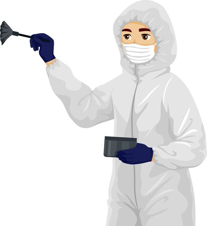 Illustration of a Teenage Guy Student Wearing Forensic Gown, Mask and Gloves, Holding Dusting Powder