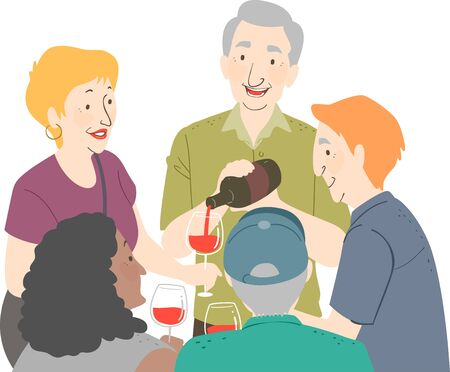 Illustration of a Group of Senior Holding Red Wine for Wine Tasting