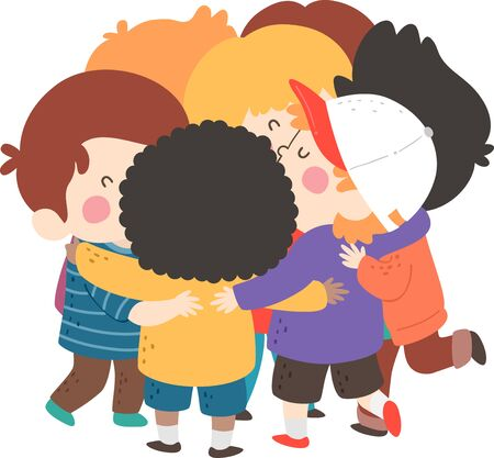 Illustration of Kids Boys Hugging as a Group or Team