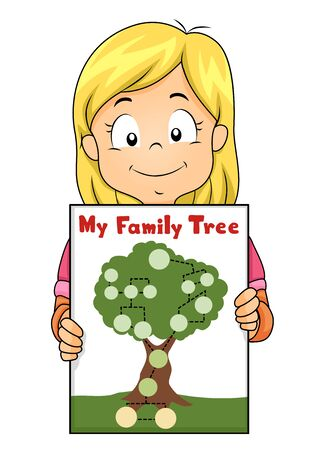 Illustration of a Kid Girl Showing Her Family Tree Stok Fotoğraf