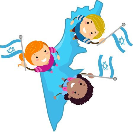 Illustration of Stickman Kids On Israel Map Holding the Israel Flag