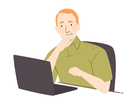 Illustration of a Senior Man Rubbing His Chin and Confused In Front of His Laptop