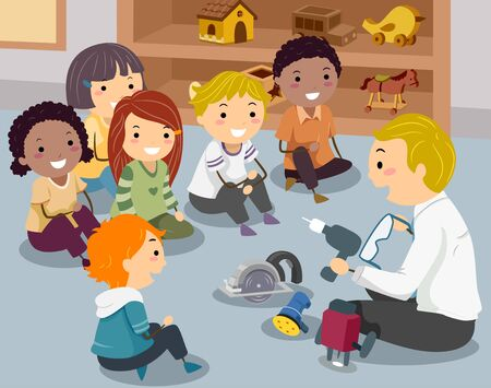 Illustration of a Teacher Introducing Different Woodworking Tools to Kids