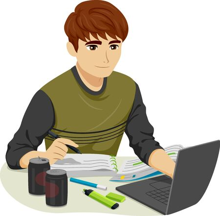Illustration of a Teenage Guy Studying for Exams with Notes, Laptop, Drinks and Markers